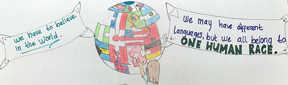 "The the full logo designed by Juan Rivera. It has a world madeup of flag puzzle pieces and states, ""We have to believe in the world"" and ""We may speak different languages, but we are all one human race."""