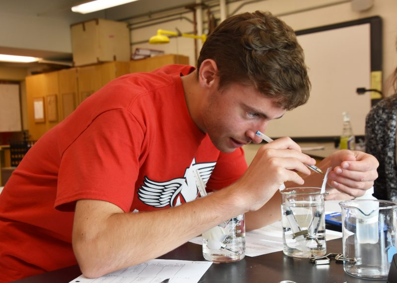 High school boy doing a science experiment