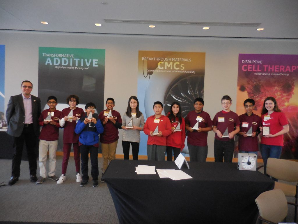 Members of the Van Antwerp MATHCOUNTS team pictured at GE Global Research