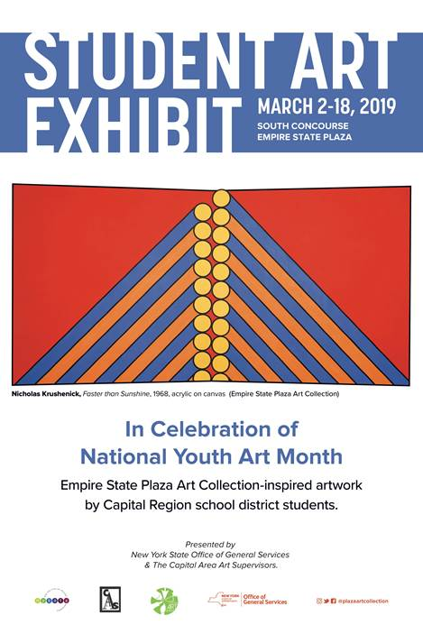 Student art exhibit poster with student artwork