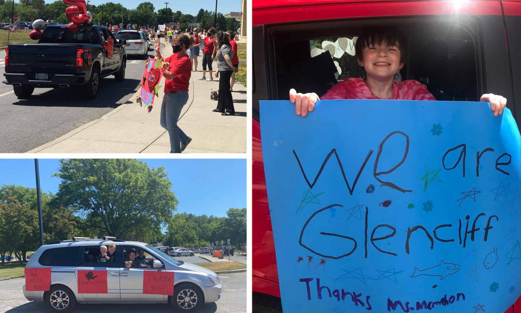 collage with images from the elementary parades