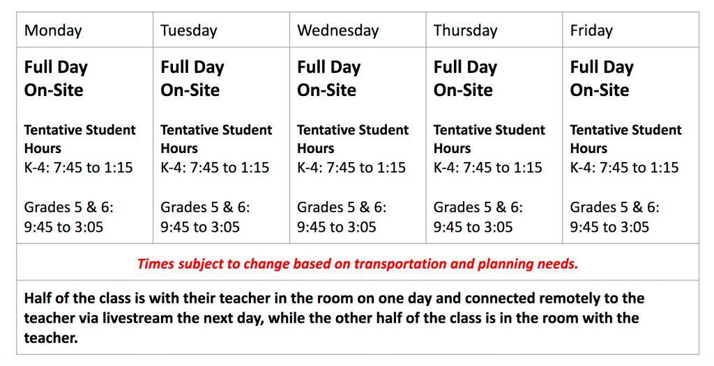 Screenshot of the K-6 schedule