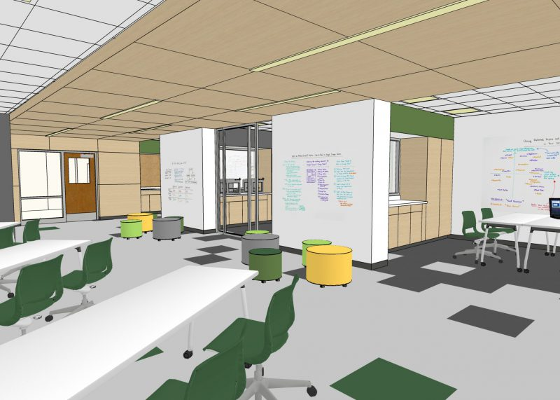 Example of a modern classroom with tables, movable furniture and small group space