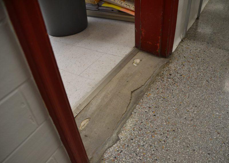 Deterioration in classroom entry way at Van Antwerp