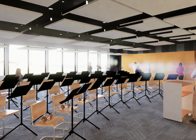 Example of a modern room for music ensembles